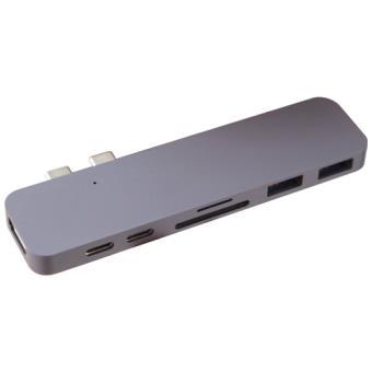 """Adaptador Hub HyperDrive Thunderbolt 3 USB-C para MacBook Pro 13"""" / 15"""" Gris Espacial"""