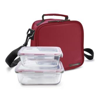 Porta alimentos Iris Lunchbag Basic Roja + 2 tupper vidrio