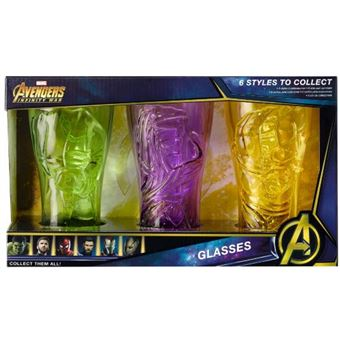 Set 3 vasos Marvel: Hulk, Groot, Thor