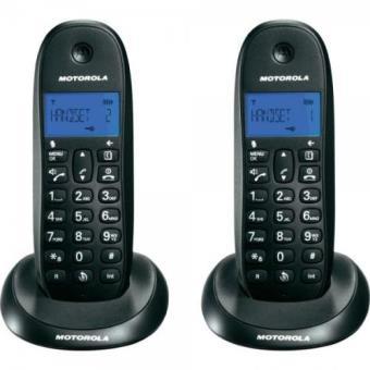 Teléfono inalámbrico Motorola C1001L Duo Negro Dect