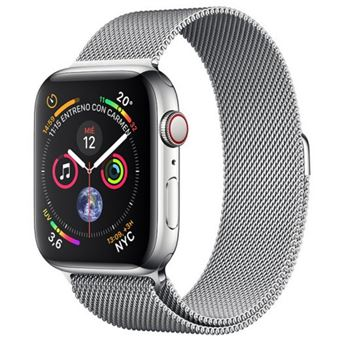 Apple Watch S4 44mm LTE Caja de acero inoxidable y pulsera Milanese Loop Plata