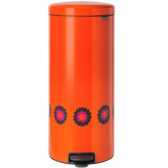 Cubo de basura Brabantia NewIcon Pedal Bin 30 L Naranja Flores