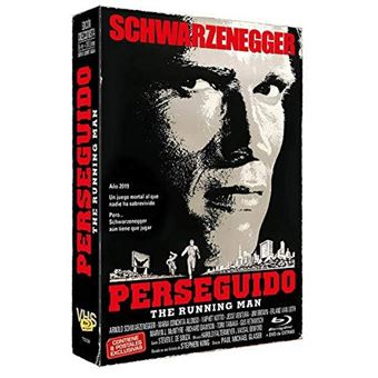 Perseguido (The Running Man) - Blu-Ray + DVD Extras en caja VHS Vintage + 8 postales