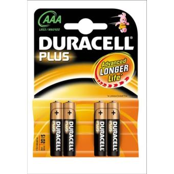 Duracell Pila Alcalina Plus LR03x4