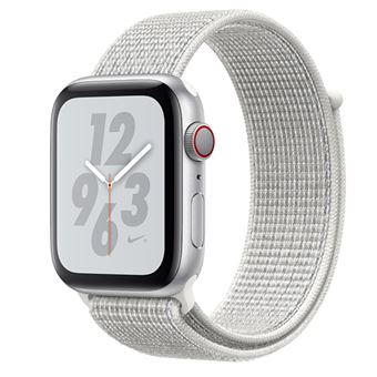 Apple Watch S4 Nike+ LTE GPS 44 mm Caja de aluminio en plata y correa Loop Nike Sport Blanco polar