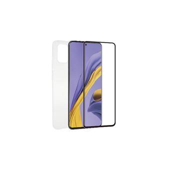 Funda Muvit + Protector de pantalla Cristal templado Marco negro antibacteriano para Samsung Galaxy A51