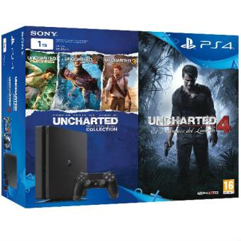 PS4 Slim 1TB + Uncharted Collection + Uncharted 4
