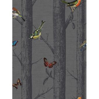 Les oiseaux sur Branches Papier peint gris foncé - Décors et ...