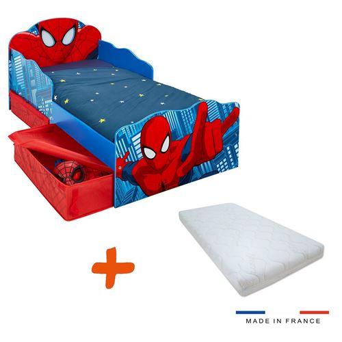 Lit enfant Spiderman Marvel Design tiroirs de rangement tete de lit lumineuse + matelas