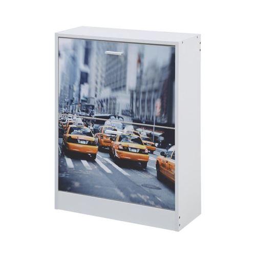 Meuble a chaussures classique décor blanc et imprimé New-York sur la façade - L 60 cm