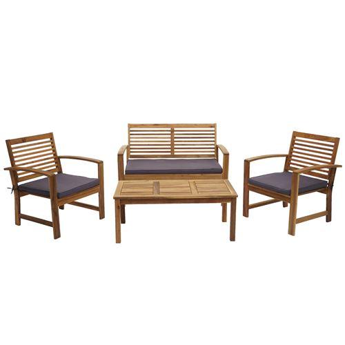 Garniture de jardin HWC-E99, ensemble canapé fauteuil, set de balcon, bois massif d'acacia, coussin gris foncé
