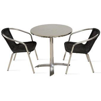 Table de jardin ronde en aluminium et 2 fauteuils - Noir ...