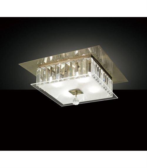 Plafonnier Tosca carré 4 Ampoules laiton antique/verre/cristal