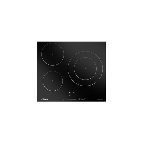 Candy CIVS677 - Table de cuisson à induction - 3 plaques de cuisson - Niche - largeur : 56 cm - profondeur : 49 cm - noir - avec bord droit - noir