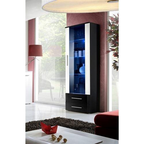 Vitrine NEO I design, coloris noir et blanc brillant, tiroirs noirs brillants + LED.