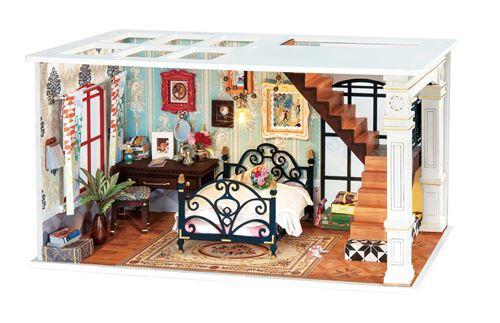 Robotime kit de construction de maison de poupée Paris DIY 23 cm bois/textile 3 pièces