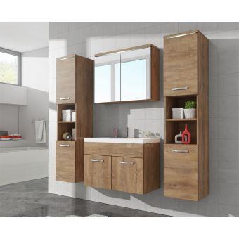 Meuble de salle de bain Paso xl – Armoire de rangement Meuble lavabo évier  Meuble lavabo Lefkas (Marron) 80x40 cm