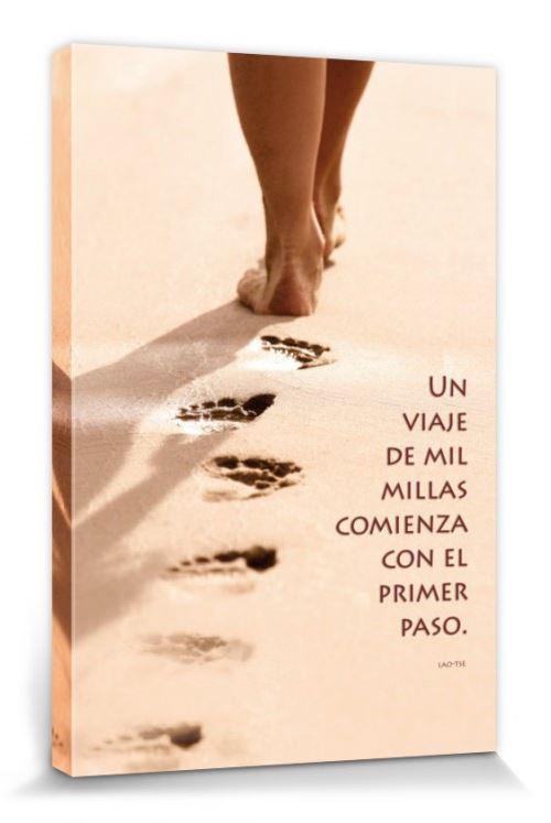 Motivation Poster Reproduction Sur Toile, Tendue Sur Châssis - Un Viaje De Mil Millas Comienza Con El Primer Paso (120x80 cm)