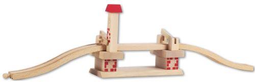 Pont avec barrieres - accessoire circuit train en bois - jeu de construction - beeboo