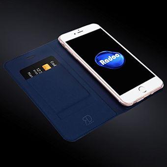 Radoo Coque iPhone 6 Plus Coque iPhone 6S Plus Ultra Mince en Cuir PU Premium Houe a Rabat Portefeuille Etui de Bumper Folio a Clapet Bleu