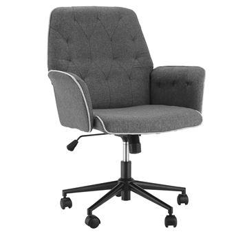 360° chaise chiné réglable de bureau bureau gris pivotant de tissu hauteur Fauteuil chanvre capitonné xerCBdo