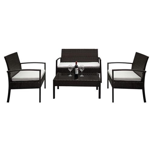 Canapé extérieur en rotin, fauteuils 2 pièces 1 causeuse 1 pièce et 1 table basse en verre trempé -Marron