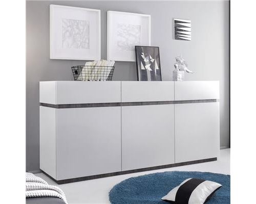 Bahut design blanc laqué mat VALERONA 2 - L 184 x P 51 x H 85 cm
