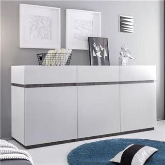 Bahut Design Blanc Laque Mat Valerona 2 L 184 X P 51 X H 85 Cm