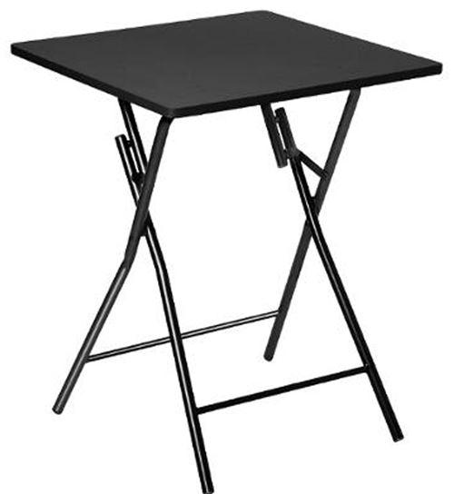 Table d'appoint pliante en métal coloris noir - L.60 x l.60 x H.75 cm -PEGANE-