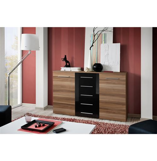 Paris Prix - Buffet 2 Portes Design fox 150cm Prunier & Noir