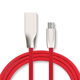 Pack Chargeur + Câble USB 3 en 1 renforcé rouge prises USB