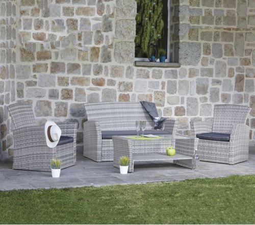 Salon de jardin en acier / résine tressée, coloris gris -PEGANE-