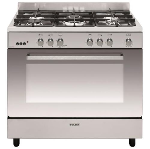 Glem GE960CMIX2 - Cuisinière - pose libre - largeur : 90 cm - profondeur : 60 cm - hauteur : 91 cm - avec système auto-nettoyant - classe A - inox