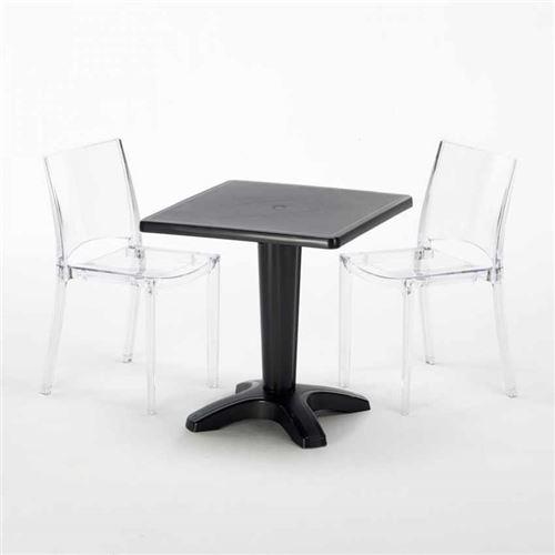 Table et 2 chaises colorées polycarbonate extérieurs Grand Soleil CAFFÈ, Chaises Modèle: B-Side Transparent, Couleur de la table: Noir