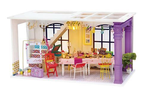 Robotime kit de construction d'une maison de poupée DIY Party 23 cm bois/textile 3 pièces