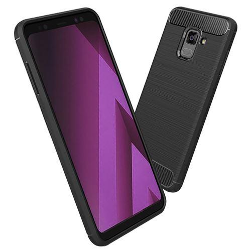 VSHOP® Coque Samsung Galaxy A8 (2018), Housse [Carbone TPU] Silicone Case Cover [Absorption de Choc]
