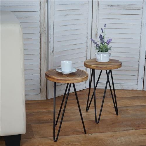 bois véritable design industriel Ø35cm Table d/'appoint HWC-A80 table de nuit