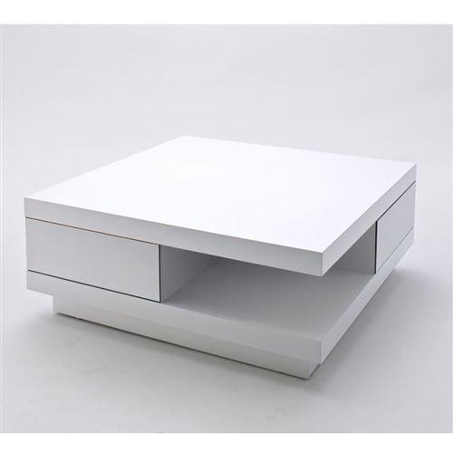 Table Basse carrée ALBI finition laquée blanc brillant 2 tiroirs