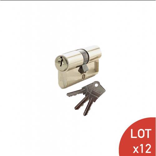 Cylindre de 80 mm (35x45) varié laiton poli 3 clés laiton nickelé x12