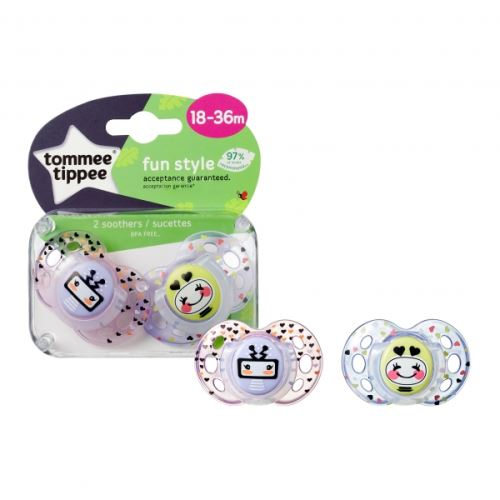 Lot de 2 sucettes closer to nature fun 18m+ fille - tommee tippee