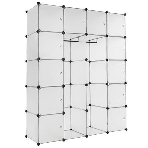 Armoire de rangement meuble penderie étagère blanc XXL