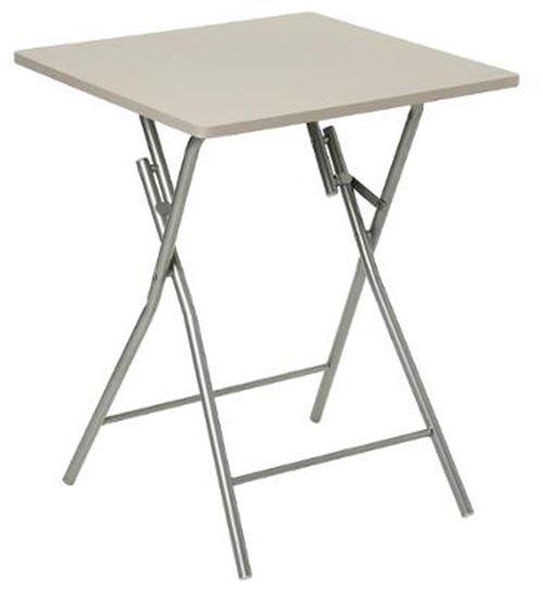 Table d'appoint pliante en métal coloris taupe - L.60 x l.60 x H.75 cm -PEGANE-