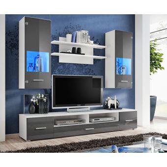 Meuble Tv Mural Magnetic Gris Brillant Et Blanc Mat 200cm Achat