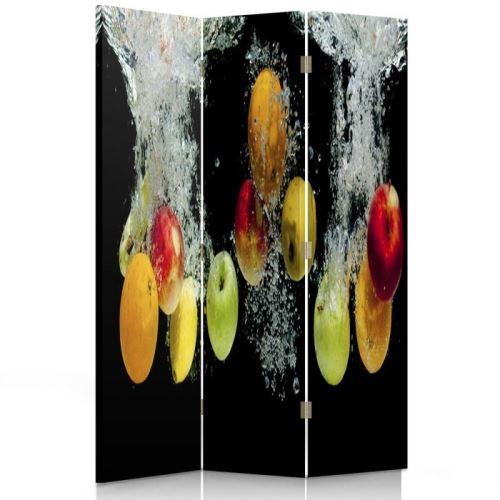 Feeby Paravent d'intérieur 3 panneaux Ecran décoratif une face imprimée, Pommes Eau 110x150 cm
