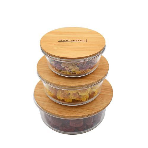 Lot de 3 boîtes rondes hermétiques en verre avec couvercle en bambou Gam'Hotel Qualité Pro