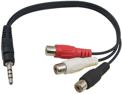 Câble adaptateur vidéo prise mâle jack 3,5 mm 3 RCA femelle rouge / noir / blanc