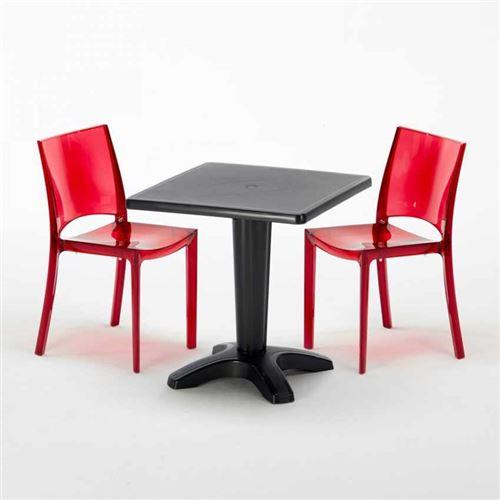 Table et 2 chaises colorées polycarbonate extérieurs Grand Soleil CAFFÈ, Chaises Modèle: B-Side Rouge transparent, Couleur de la table: Noir