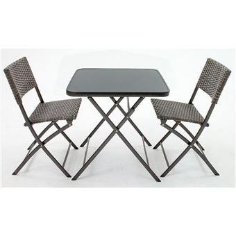 set balcon de 2 chaises pliantes et 1 table en r sine. Black Bedroom Furniture Sets. Home Design Ideas