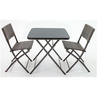Set balcon de 2 chaises pliantes et 1 table en résine ...