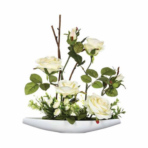 Composition Florale Rose 36cm Blanc